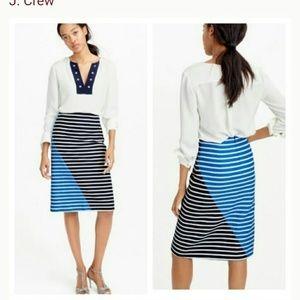 J Crew Colorblock Striped A-Line Skirt Size 0